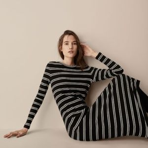 Ribbed striped dress with eyelet detail